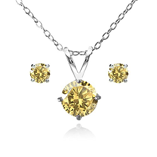 Sterling Silver Citrine Round Solitaire Necklace and Stud Earrings Set