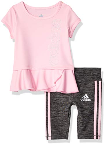 adidas Baby Girls Capri Tight Set, Stripe Light Pink 12 Months ()
