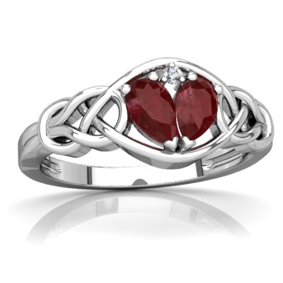 14K White Gold Ruby and Diamond Pear Celtic Love Knot Ring - Size 7