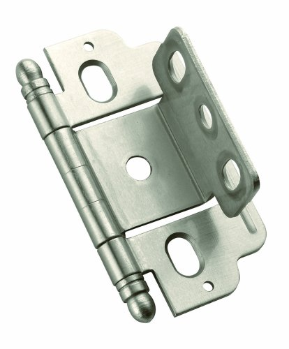Amerock PK3180TBG10  Full Inset, Partial Wrap, Ball Tip Hinge with 3/4in(19mm) Door Thick. - Satin ()