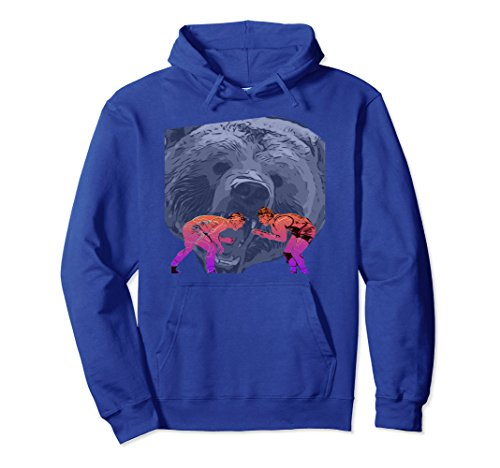 Unisex Wrestling Grizzly Bear Hoodie Large Royal Blue by Wrestling Shirts by Spirit Taffy