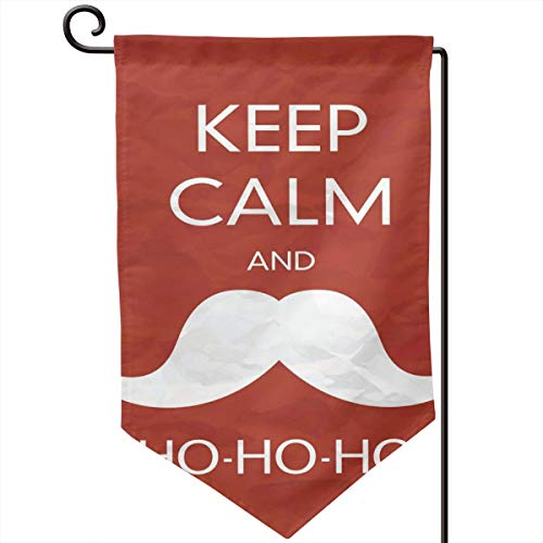 lsrIYzy Garden Flag,Ho Ho Ho Quote with The Iconic Santa Mustache Joyful Christmas Feliz Navidad,12.5x18.5 inch