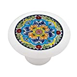 Mexican Talavera Flower Design Ceramic Drawer Knob