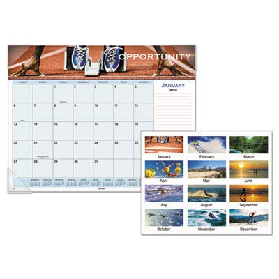 AT-A-GLANCE 89801 Recycled Motivational Panoramic Monthly Desk Pad, 22 x 17, 2015