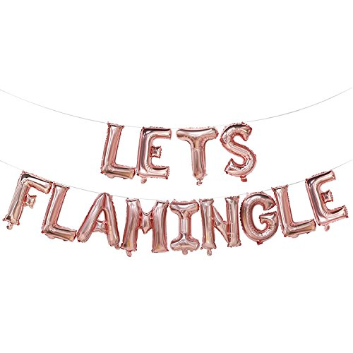 Lets Flamingle Balloons Banner | Lets Flamingle Party Supplies | Hawaii Party, Flamingo Theme Party, Pink Party, Summer Party Decorations (Rose Gold) -
