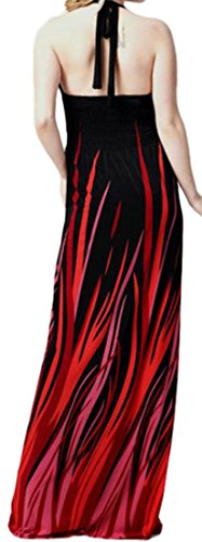 V Halter Deep Block Party Color Backless Neck Cromoncent Sexy Dress Red Womens qfITxnwEAg