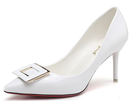 IDIFU Womens Sexy Pointed Toe Low Top Slip On High Stiletto Heels Wedding Pumps White fQPHP1