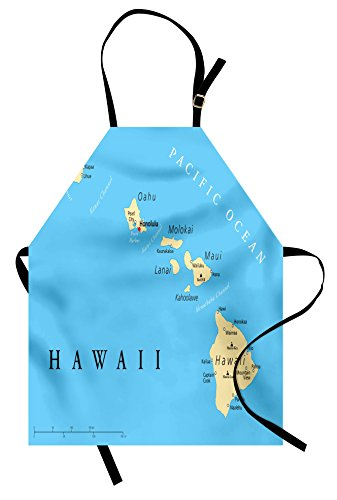 Lunarable Hawaiian Apron, Map of Hawaii Islands with Capital Honolulu Borders and Important Cities, Unisex Kitchen Bib Apron with Adjustable Neck for Cooking Baking Gardening, Black Ivory ()