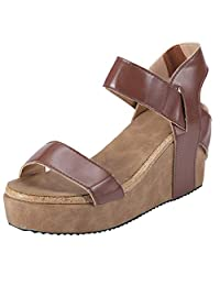 DATEWORK Women Open Toe Breathable Beach Sandals Rome Elastic Band Casual Wedges Shoes