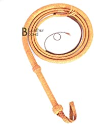 Indiana Jones Style Bull Whip 6 Foot 8 Plaits Real Tan Cow Hide Leather Bullwhip