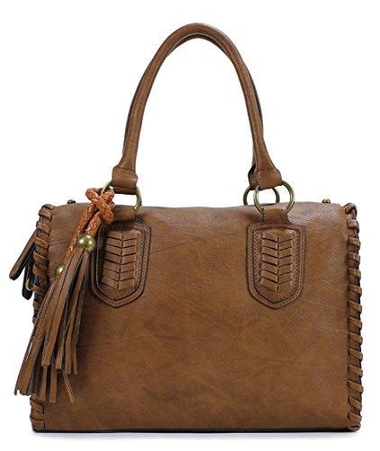 Scarleton Vintage Top Zip Satchel H111304 - Brown