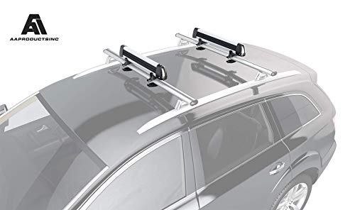 AA Products Aluminum Universal Ski/Snowboard Roof Rack, Ski Roof Carrier Fit Most Vehicles Equipped Cross Bars (Renewed)