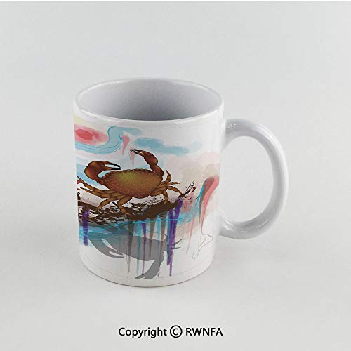 (11oz Unique Present Mother Day Personalized Gifts Coffee Mug Tea Cup White Crabs Decor,Sea Animals Theme Two Crabs Dancing on Abstract Grunge Background Print,Brown Light Blue Funny Ceramic Coffee Te)