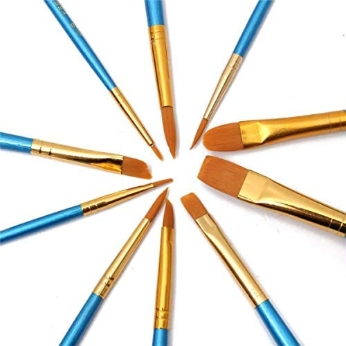 絵筆油彩筆 10本セット水彩 ペイントブラシ 水彩 筆 アクリル絵の具 ナイロン毛