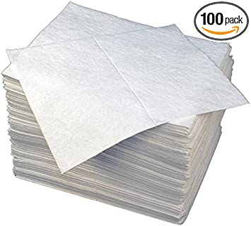 90823 Buffalo Industries 15 x 18 Medium Weight Oil Only Laminated Sorbent Pad, Pack of 100