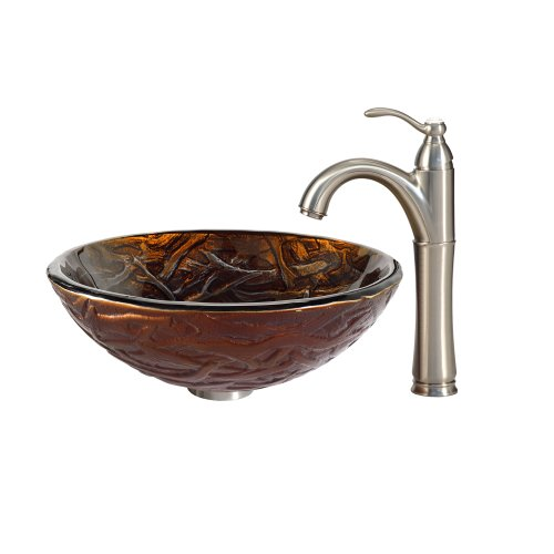 Kraus C-GV-396-19mm-1005SN Dryad Glass Vessel Sink and Riviera Faucet Satin Nickel