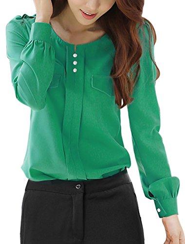 [Allegra K Women Split Neck Long Sleeve Button Decor Ruched Shirt S Green] (Shirred Puff Sleeve Tops)