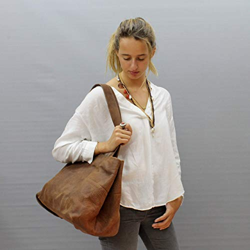 76eeee041a03 Amazon.com  Large leather tote bag Distressed brown purse Handmade soft  handbag hobo  Handmade