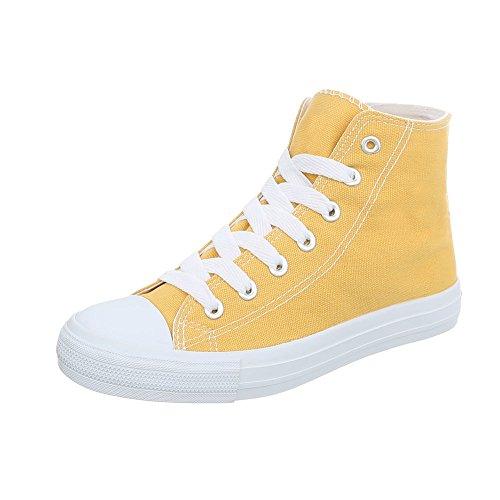 Damenschuhe 68 High Schnürsenkel G Design Sneakers Gelb Freizeitschuhe 3 Ital qOHFaa
