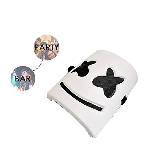 Ammzzoo111 Halloween Cosplay Costume Mask for Masquerade Carnival Party, Cool DJ Marshmello Full Face Mask Plastic Music Bar Concert Cosplay Party Prop]()