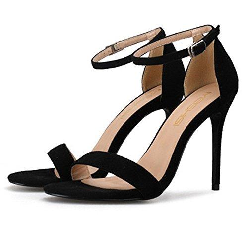 Toe Alla A 35 Peep Da Size Ladies Cinturino Nero Strappy Sandali Large Festa Zpl Caviglia Scarpe Tacco 44 Spillo Womens YTEqv