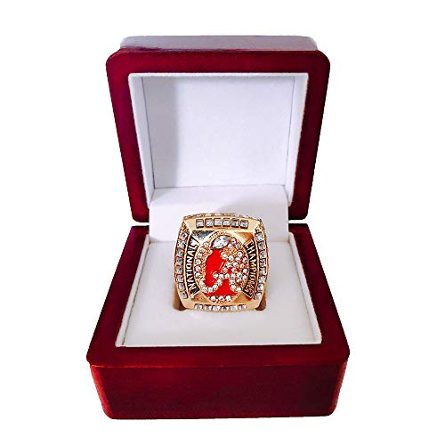 Gloral HIF Alabama Crimson Tide Championship Ring 2011 Replica Saban with Display Wooden - Crimson Crystal Tide Alabama