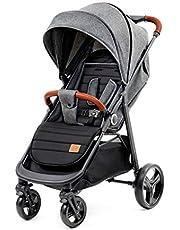 Kinderkraft Barnvagn GRANDE, Sittvagn, Liggdel, Sportbarnvagn, Fällbar sufflett, Hopfällning och liggläge, Fjädring på alla hjul, Med tillbehör, Grå