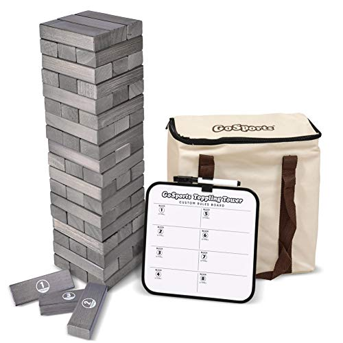 GoSports Large Gray Stain Toppling Tower with Bonus Rules | Starts at 1.5' and Grows to Over 3' | Made from Premium Gray Stained Blocks
