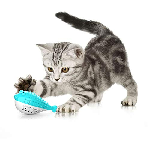 Catnip Toys for Cats,Interactive Cat Toothbrush Chew Treat Toy for Kitty,Teeth Cleaning Dental Care,Fish Shape Pet Toy