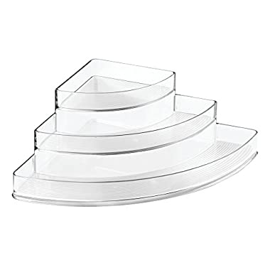 InterDesign Linus Spice Rack, Corner Organizer for Kitchen Pantry, Cabinet, Countertops - 3-Tier Clear