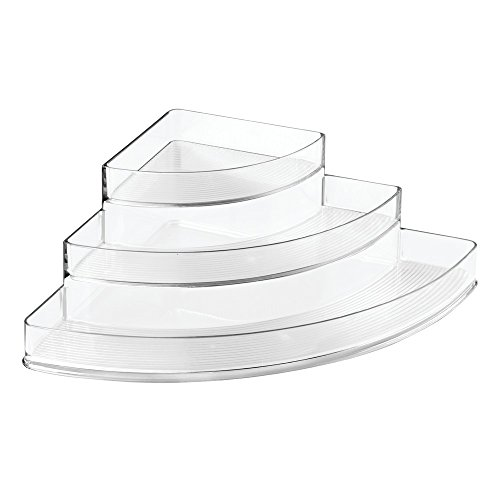 InterDesign Linus Spice Storage Rack – 3-Tiered Corner Organizer for Kitchen, Pantry, Cabinet or Countertops, (Lazy Susan Organizers)