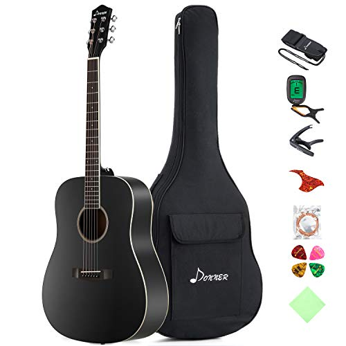 Donner DAG-1B Black Beginner Acoustic Guitar Full Size, 41