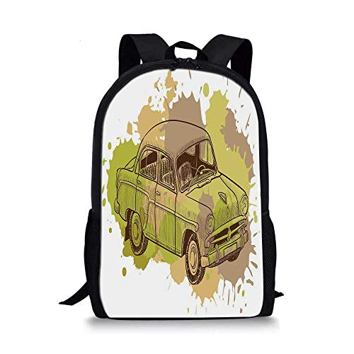 - Doodle Stylish School Bag,Vintage Car Design with Various Color Splashes Retro Inspired Decorative for Boys,11''L x 5''W x 17''H