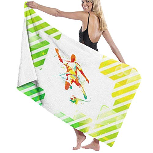 (Football Player Stripe Bath Towel Wrap Womens Spa Shower and Wrap Towels Swimming Bathrobe Cover Up for Ladies Girls -)
