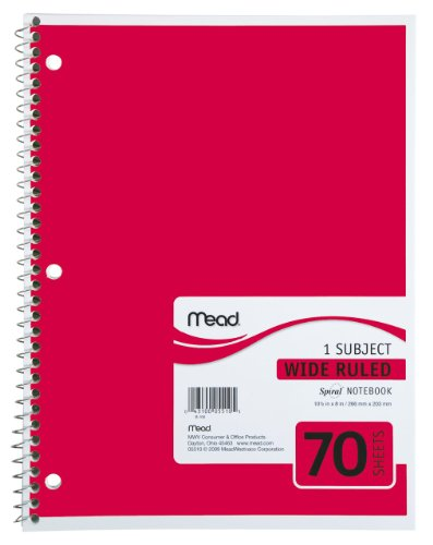 Mead Spiral Notebook, 1-Subject, 70-Count, Wide Ruled, Red (05510)