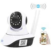 Amorvue Wireless Indoor Camera, 1080P WiFi IP Security Camera, for Baby /Elder/ Pet/Nanny Monitor, Plug/Play, Pan/Tilt, Two-Way Audio & Night Vision Home Surveillance Camera (White)