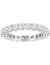 1.5 1 1/2 Carat (ctw) 14K White Gold Round Diamond Ladies Eternity Wedding Anniversary Stackable Ring Band Luxury Collection (D-E Color VS1-VS2 Clarity)