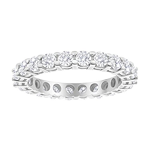 Ring Brilliant Round Diamond Eternity - 1 Carat (ctw) 14K White Gold Round Diamond Ladies Eternity Wedding Anniversary Stackable Ring Band Value Collection