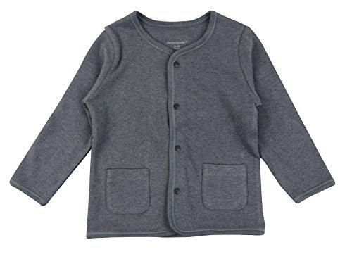DorDor & GorGor ORGANIC Baby Cardigan Top, Dye Free, 100% Cotton, 3-6 Months, Gray