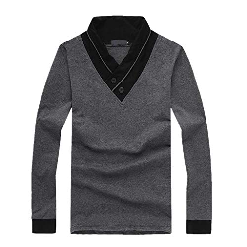 Sunhusing Mens Patchwork V-Neck Button Buckle Long-Sleeve T-Shirt Casual Paragraph Pullover Tops Gray ()