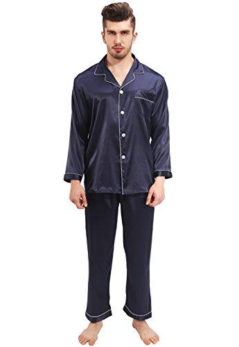 Vislivin Pantalones cortos con botones y pantalones cortos y pantalones largos y pijamas de satén de manga larga Blue 1