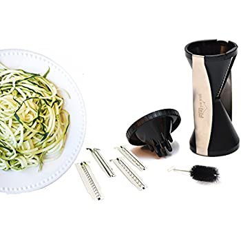 Handheld Spiralizer Vegetable Slicer with 4 Interchangeable Stainless Steel Blades - Spiralizes, Slices, Shreds, Cuts Ribbons, and Zoodles - Handheld Cleaning Brush - Dishwasher Safe (Black)