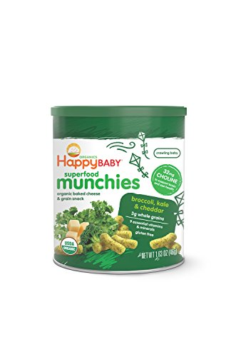 Organic Puffs - Happy Baby Organic Superfood Munchies Baked Cheese & Grain Snacks Broccoli Kale & Cheddar Cheese, 1.63 Ounce Canister (Pack of 6) Gluten Free Crunchy Snack Dissolves Easily Encourages Self Feeding
