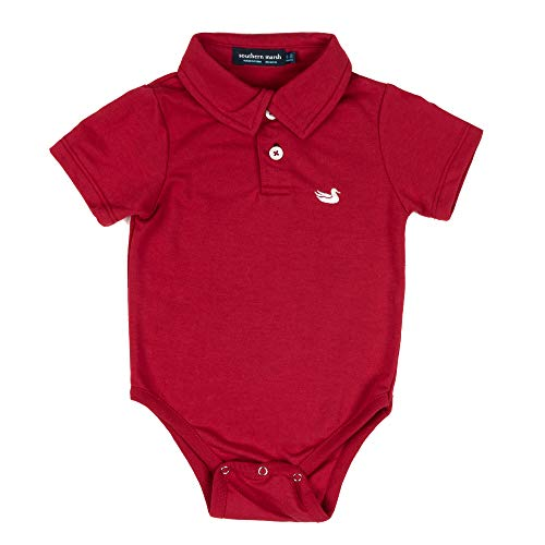 Southern Marsh Baby Classic Polo Snap OnesieSnap Onesie-crimson-3/6mo