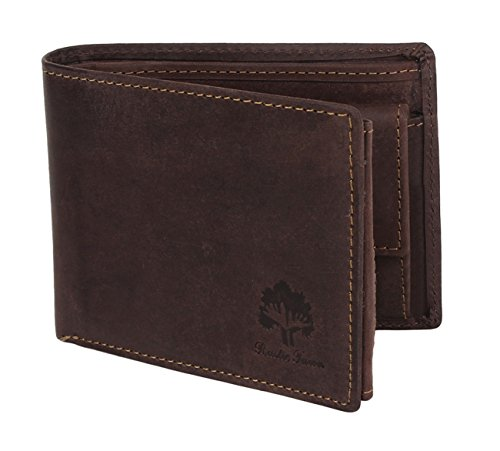 Engraved Leather Wallet - Handmade RFID Blocking Genuine Leather Bifold Wallets with Coin Pocket Designer Engraved Fashion with Card Pockets for Cash Bills By Rustic Town ~ Gift for Teen Boys Girls Men Women ( Dark Brown )