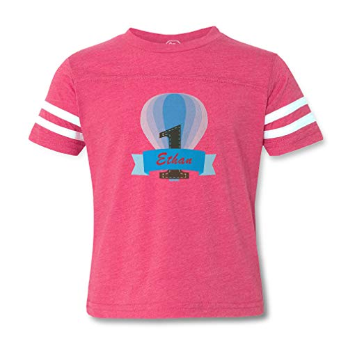 Personalized Custom Blue Baloon Cotton/Polyester Contrasting Stripes Crewneck Boys-Girls Toddler Sports T-Shirt Football Jersey - Hot Pink, 2T -