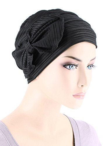 Chemo Fashion Scarf Chemo Summer Hat Ribbed Flower Bow Cloche Beanie Cancer Cap Ribbed Black by Chemo Fashion Scarf