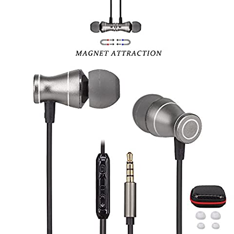 Ephone Updated In-Ear Earbuds Headphones, Metal Magnetic Housing and Wired Bass Stereo Headsets, Earphones with Microphone Apply to 3.5mm Audio Jack - Black