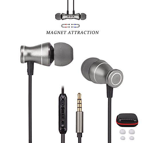 Ephone In-Ear Earbuds Headphones - Metal Magnetic Housing and Wired Bass Stereo Headsets - Earphones with Microphone Apply to 3.5mm Audio Jack - Black