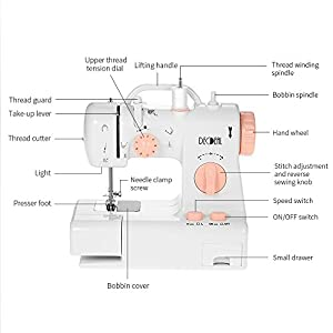 Decdeal Mini Electric Household Sewing Machine with Light Foot Pedal AC100-240V 22 x 12 x 20cm from Decdeal